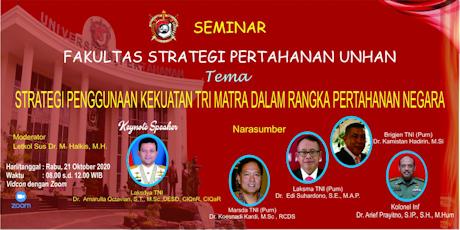 """Fakultas Strategi Pertahanan Unhan diskusikan """"Strategi penggunaan kekuatan Tri Matra dalam Rangka Pertahanan Nasional"""""""